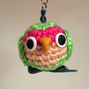 Allison East lovebird charm plush