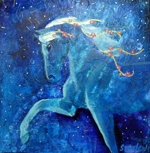 Stacy Lewis horse with flowers in mane fine art NC Joyful Jewel